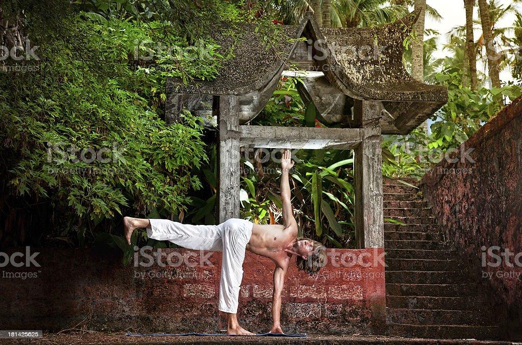 Yoga near temple stock photo
