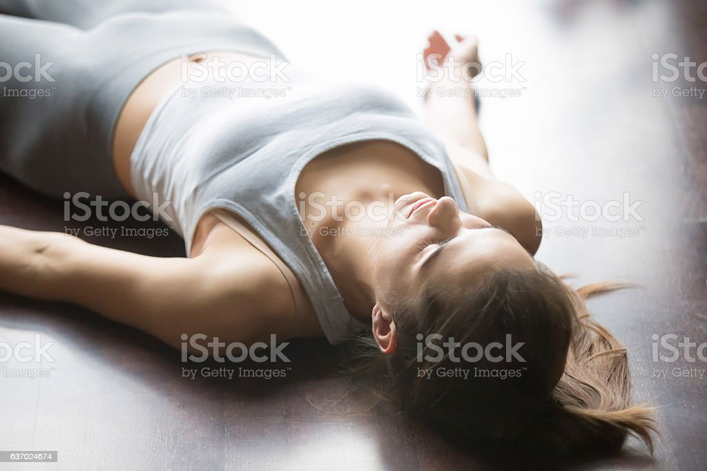 Yoga nidra at home stock photo