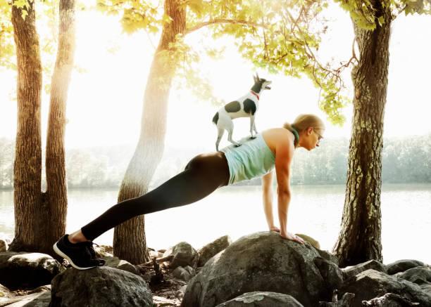 Yoga on Dock stock photo