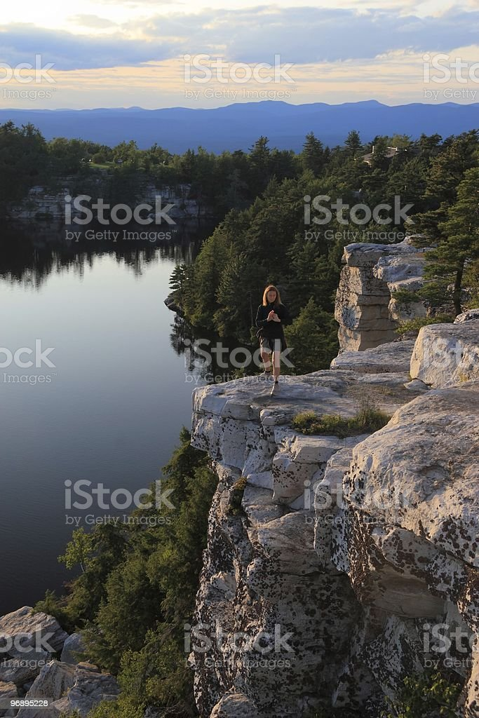 Yoga on Lake Minnewaska royalty-free stock photo
