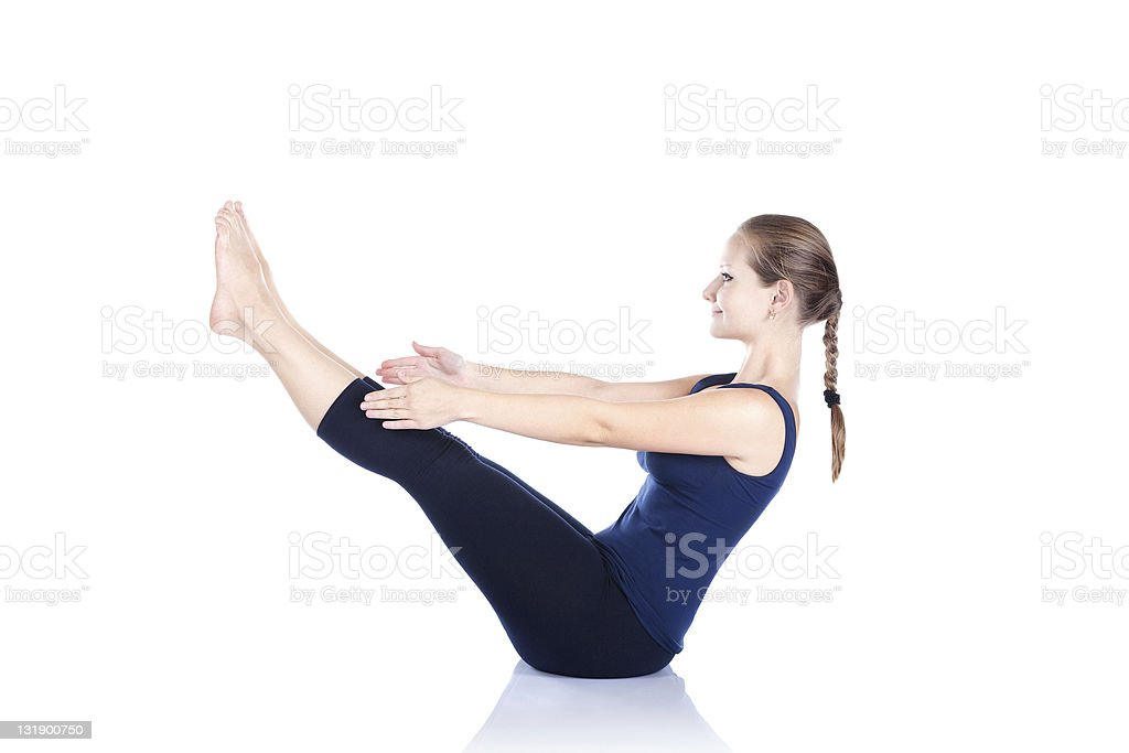Yoga paripurna navasana pose stock photo