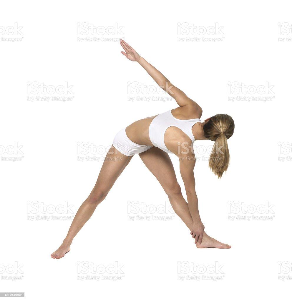 yoga, Parivritta, Utthita Trikonasana stock photo