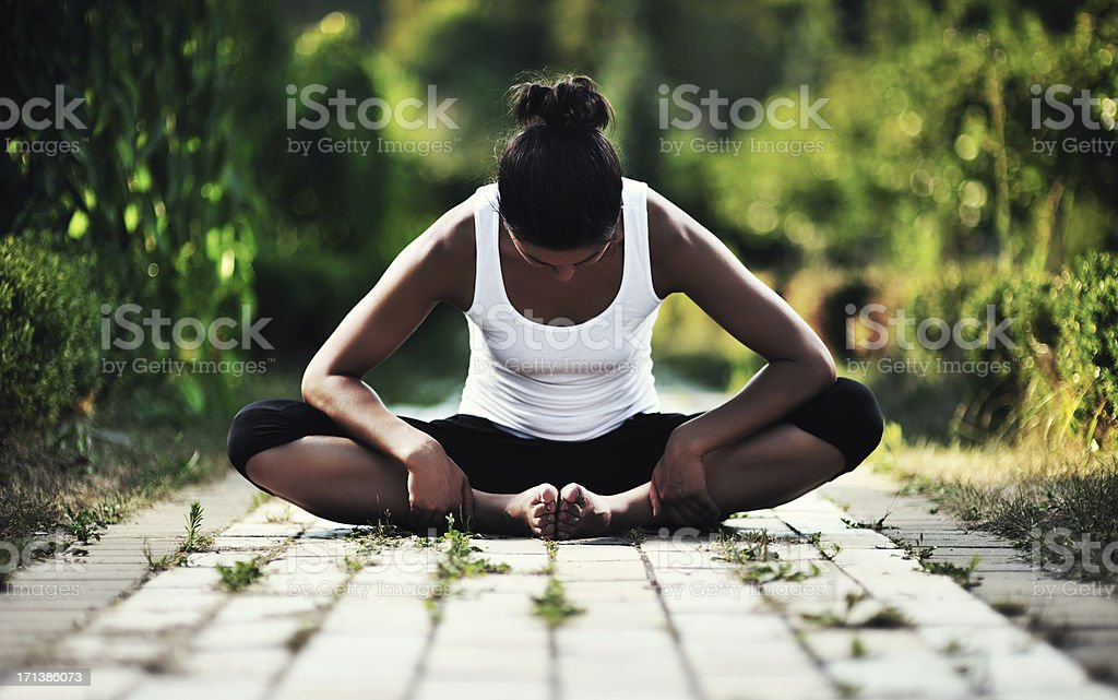 Yoga (baddha Konasana) royalty-free stock photo