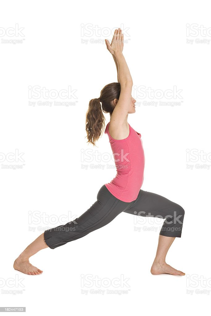 Yoga pose Warrior I royalty-free stock photo