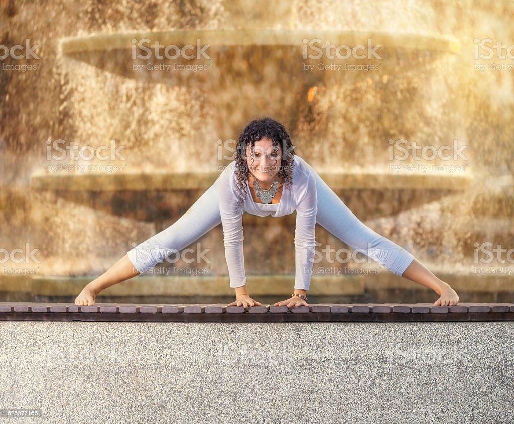 Yoga Pose Woman Exercises Outdoors Fountain Royalty Free Stock Photo