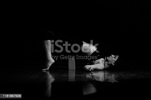 Yoga poses at black background monochrome