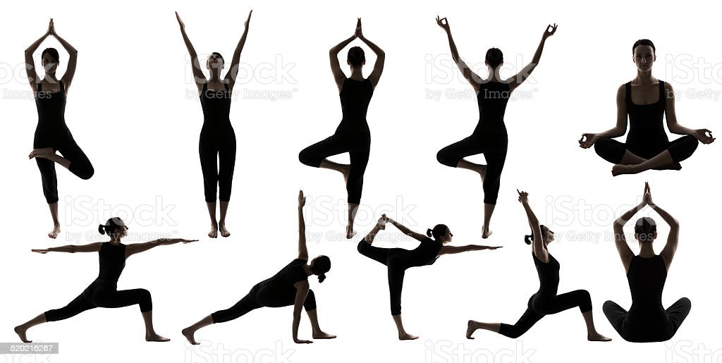Yoga Poses Woman Silhouette, People Sport Gymnastics Figures, White Isolated stock photo