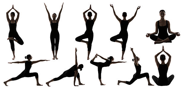 Yoga Poses Woman Silhouette, People Sport Gymnastics Figures, White Isolated stock photo