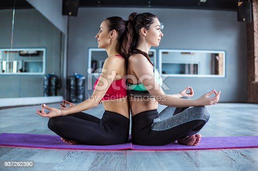 istock Yoga positions. Beautiful smiling women working out in gym together. Sport, yoga, healthy lifestyle 937262390