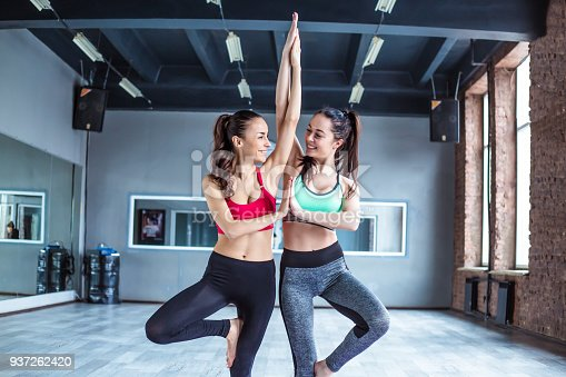 istock Yoga positions. Beautiful smiling women working out in gym together. Sport, yoga, healthy lifestyle 937262420