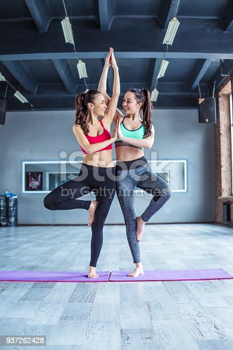istock Yoga positions. Beautiful smiling women working out in gym together. Sport, yoga, healthy lifestyle 937262428