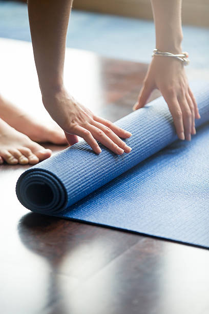 Yoga practice is over stock photo