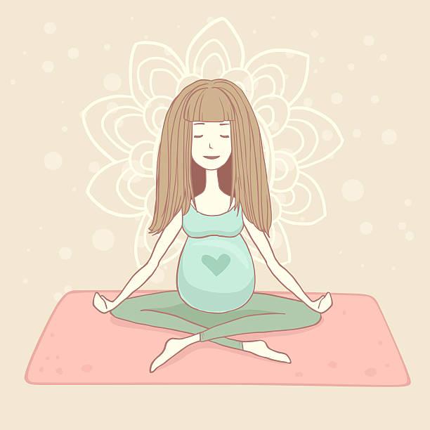 Yoga pregnant woman in lotus position stock photo