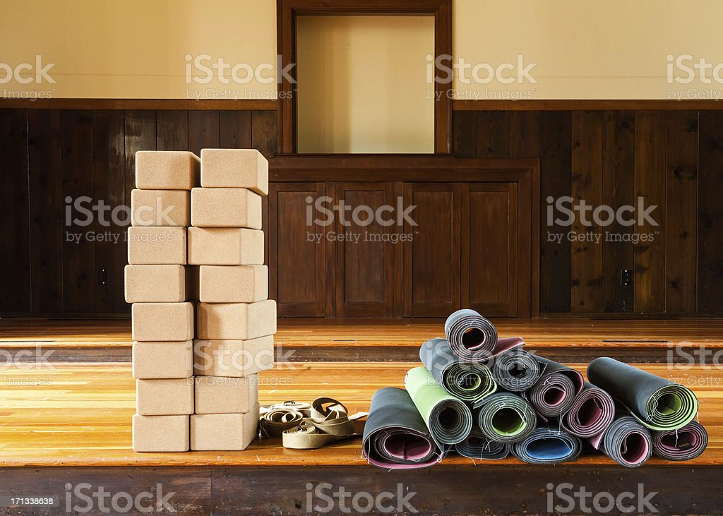Yoga Props, Mats Blocks and Straps stock photo