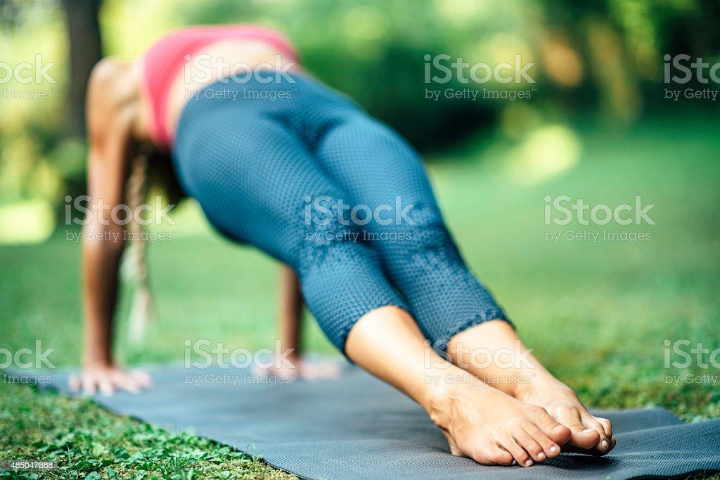 Yoga Reverse Plank Pose or Purvottanasana stock photo