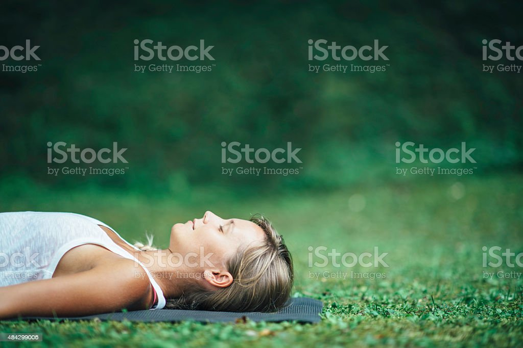 Yoga Shavasana stock photo