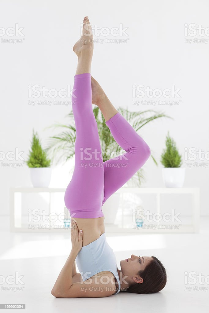 Yoga -Shoulder Stand stock photo