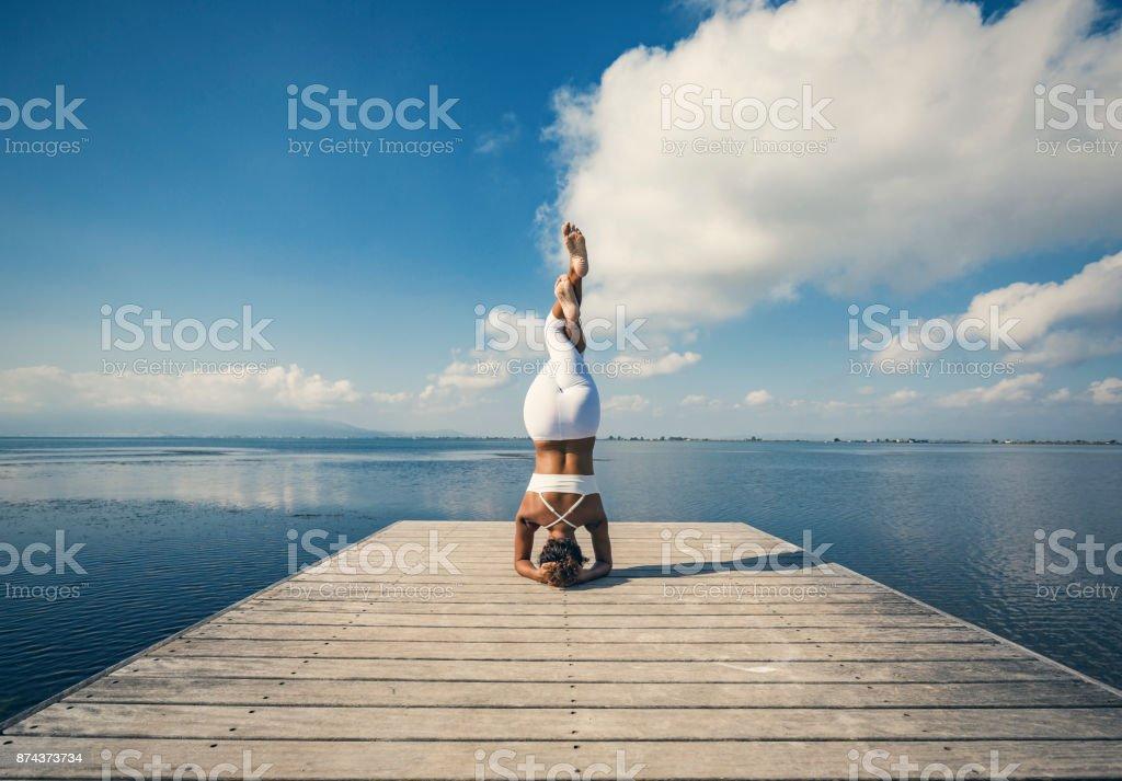 Yoga sirsana stock photo