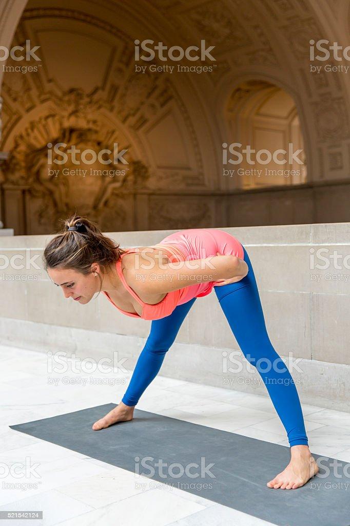 Yoga Standing Half Forward Bend stock photo
