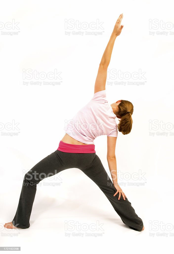 Yoga stretch back view royalty-free stock photo