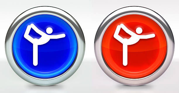 Yoga Stretch Icon on Button with Metallic Rim stock photo