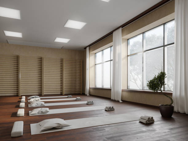 Yoga studio workplace Picture of the studio workplace with the purpose of body-conscious healthcare. yoga studio stock pictures, royalty-free photos & images