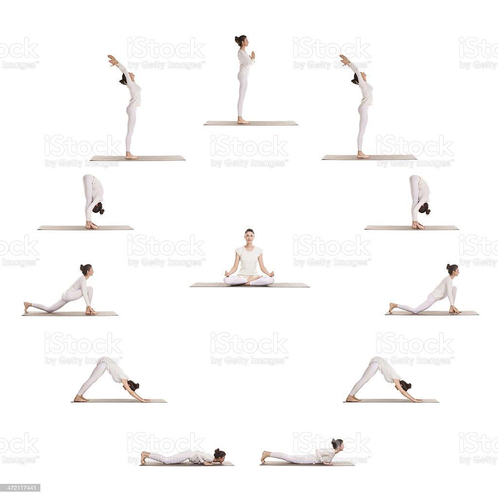 Yoga sun salutation in the shape of a clock stock photo