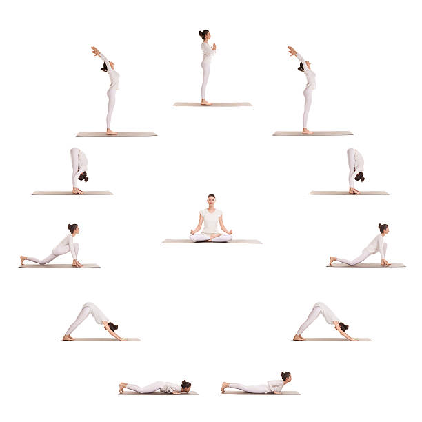 """Yoga sun salutation in the shape of a clock Full circle of postures in yoga exercises """"Salute to the Sun"""" sun salutation stock pictures, royalty-free photos & images"""