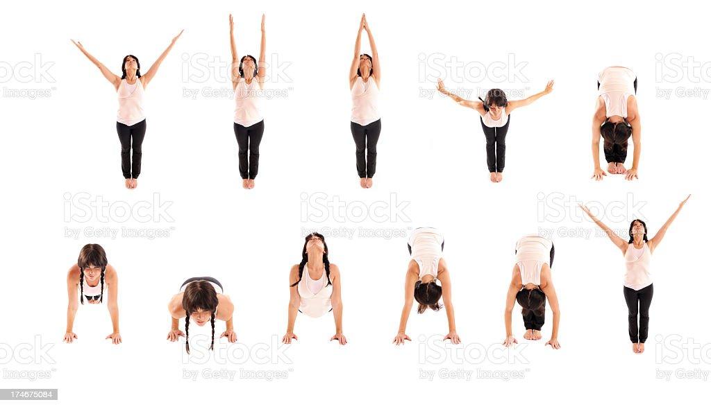 Yoga Sun Salutations stock photo