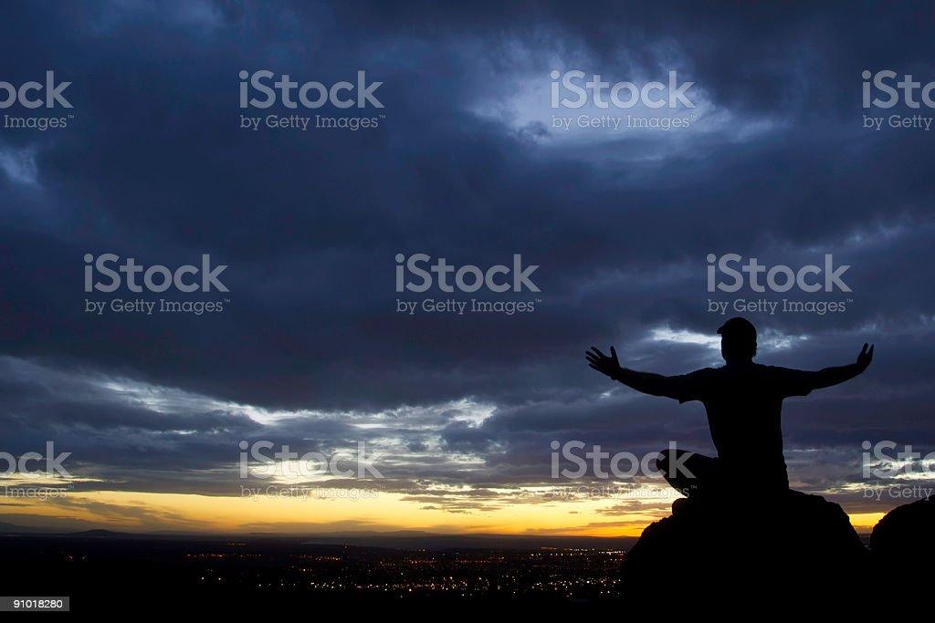 yoga sunset! royalty-free stock photo