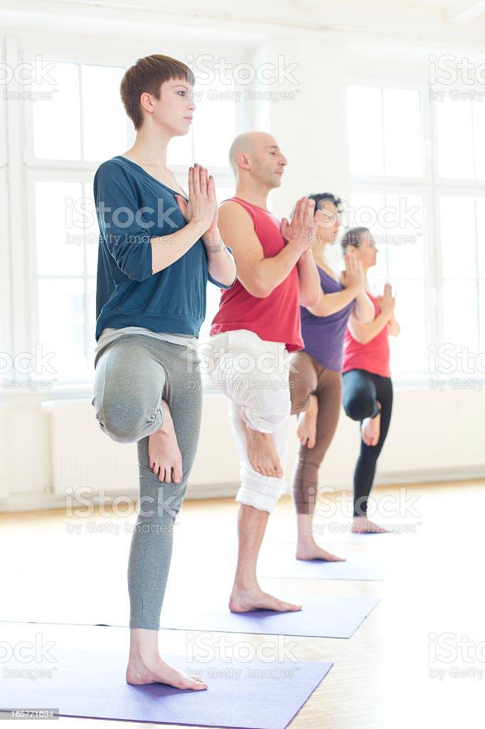 Yoga tree position royalty-free stock photo