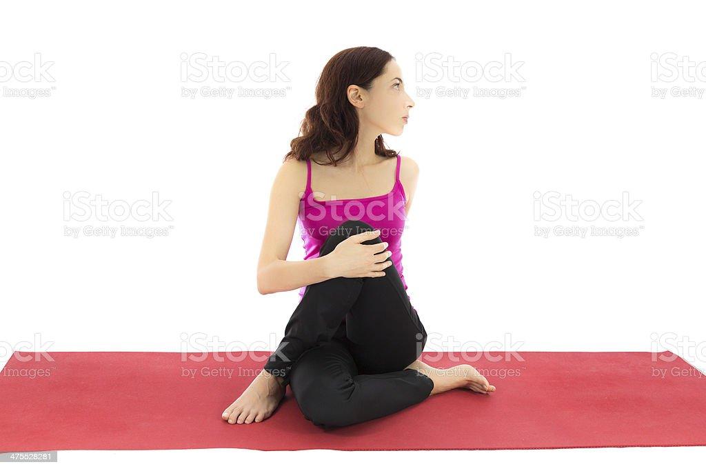 Yoga twist stock photo