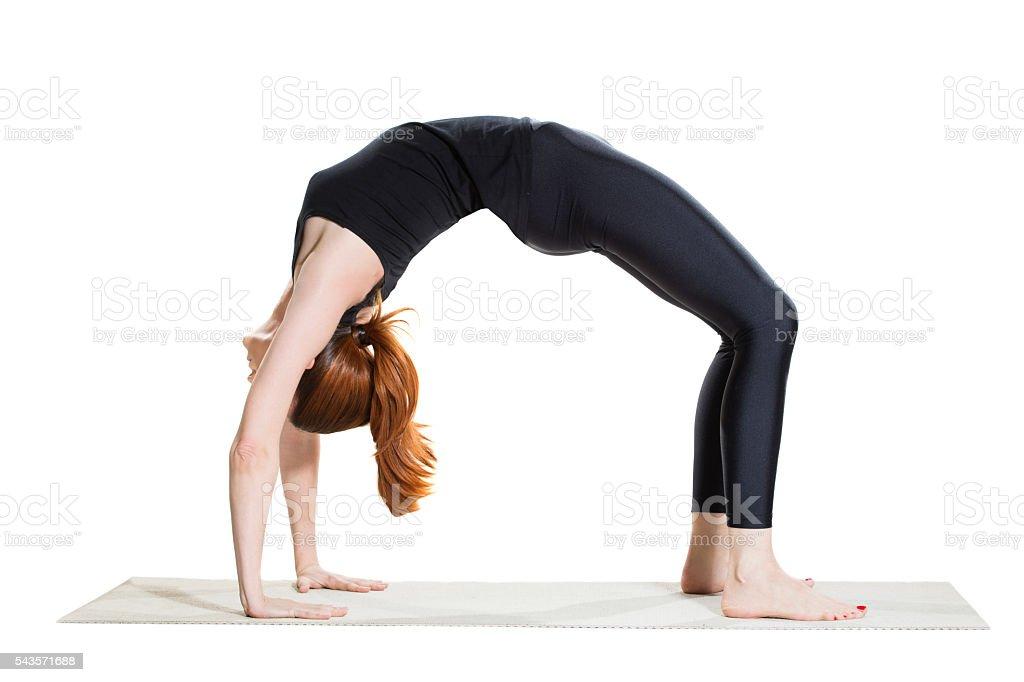 Yoga Upward Bow (Wheel) Pose - Urdhva Dhanurasana stock photo