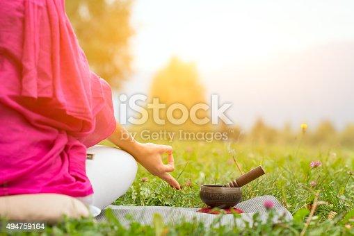 istock Yoga with Tibetan bell 494759164
