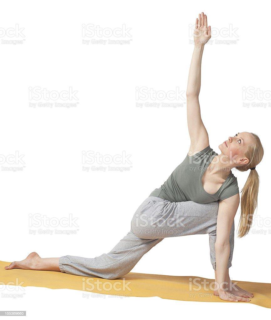 yoga woman doing training alone isolated on white royalty-free stock photo