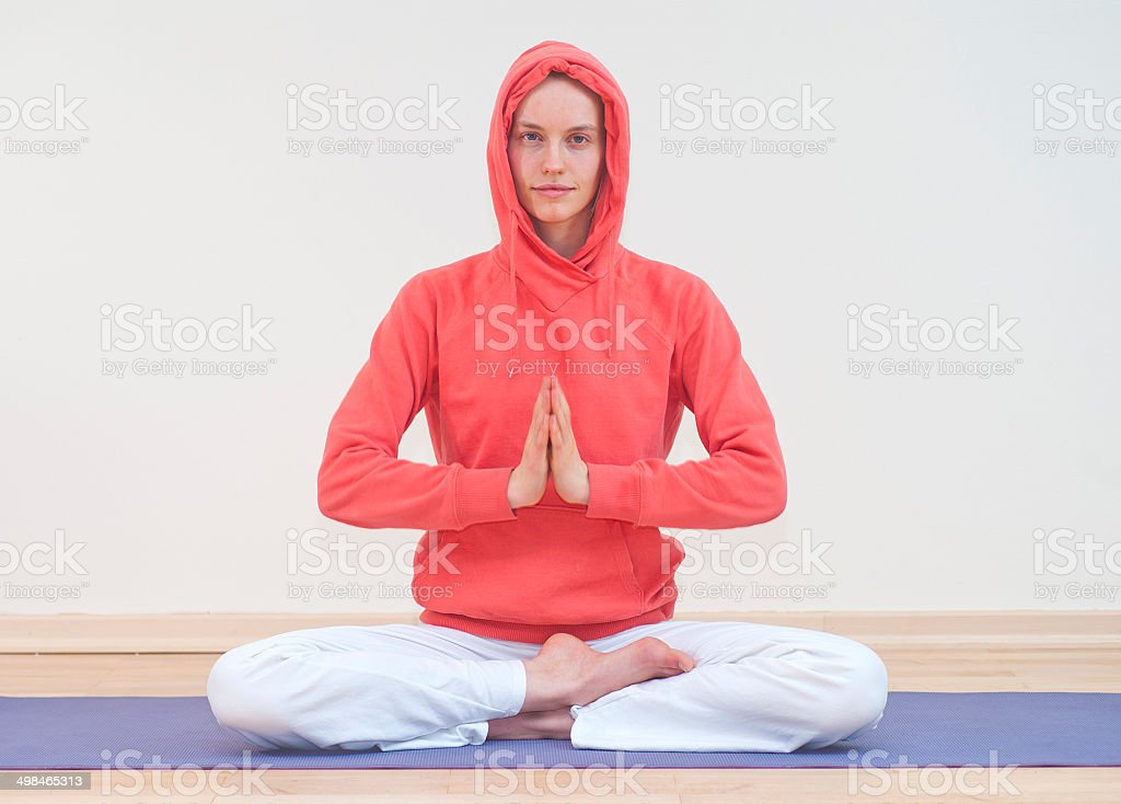 yoga woman with red dress in tranquill scene royalty-free stock photo