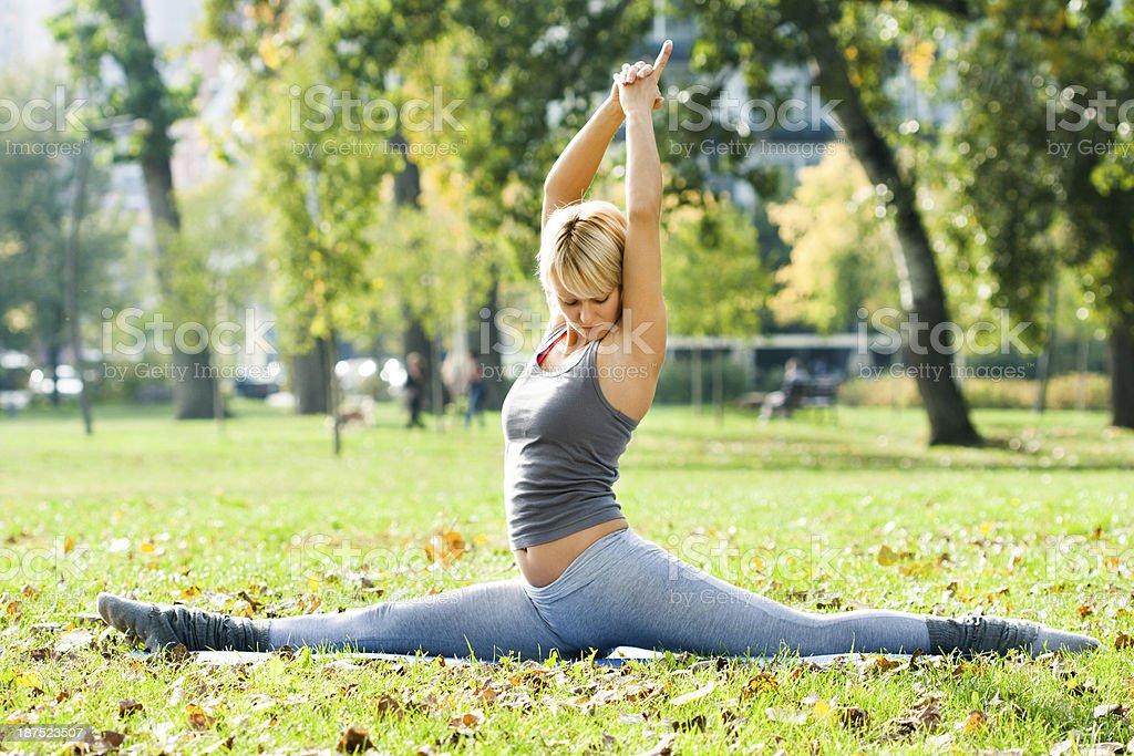 Yoga-Hanumanasana/Monkey Pose stock photo