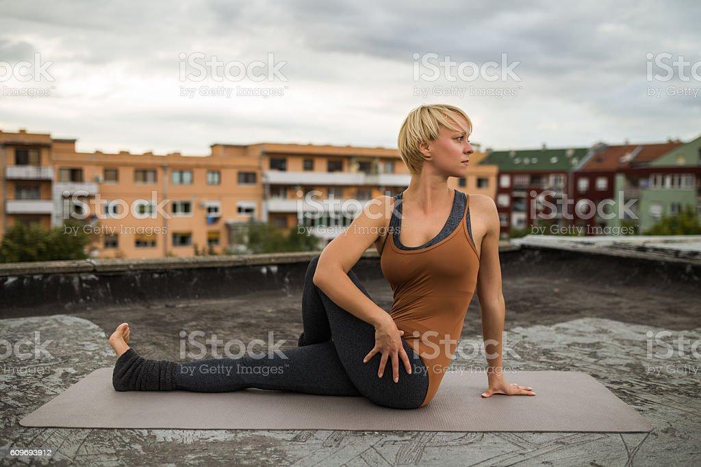 Yoga-Marichyasana stock photo