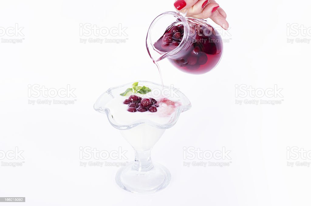 Yoghurt and cranberries royalty-free stock photo