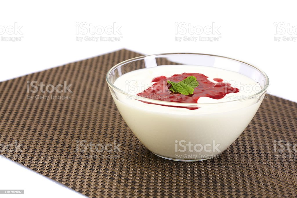 Yoghurt or curd with fruit jam royalty-free stock photo
