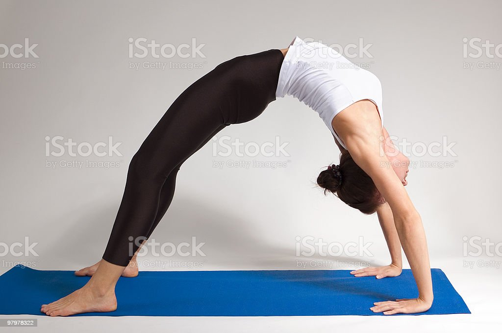 yogi girl doing exercise royalty-free stock photo