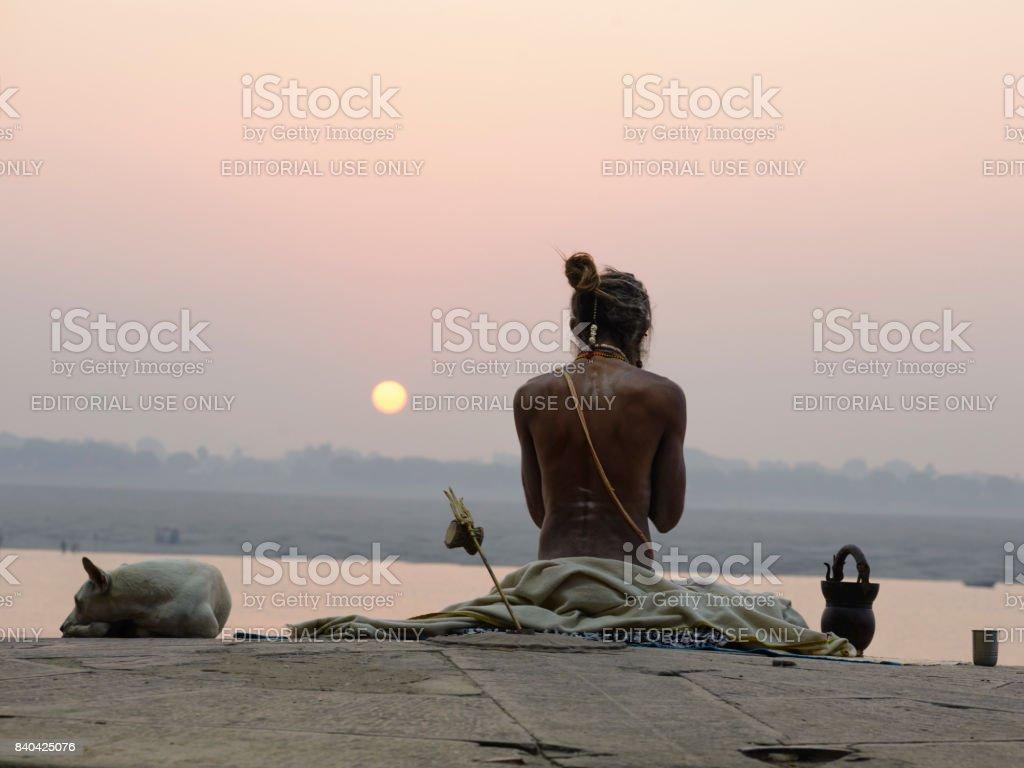Yogi in India, Varanasi. December 2015 stock photo