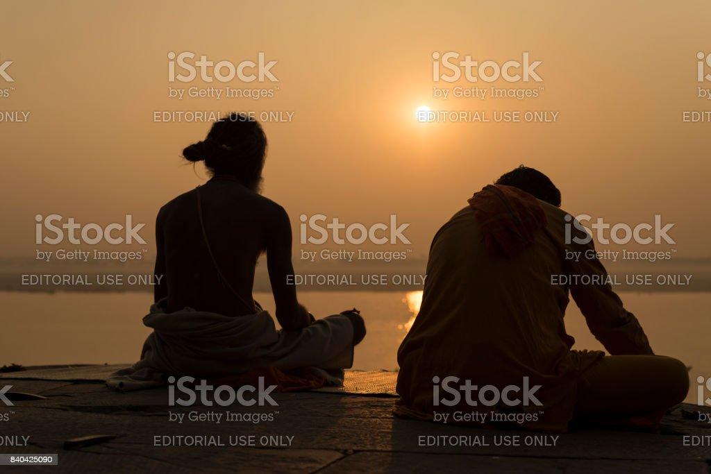 Yogi on the River Ganges, Varanasi stock photo