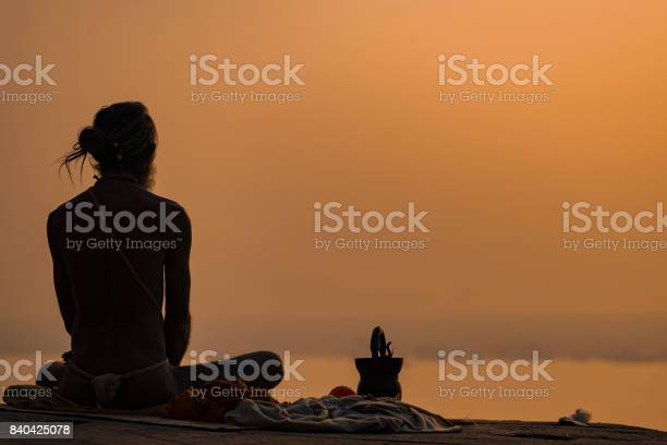 Yogi On The Shore Of The Gang Stock Photo - Download Image Now