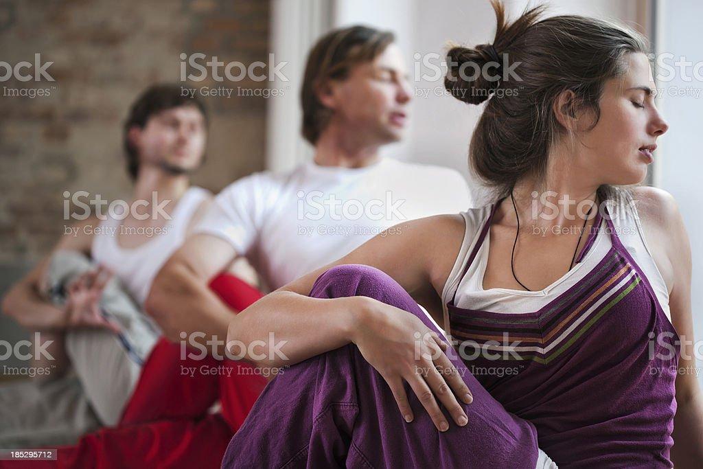 Yogo Instructor Showing Students Yoga Pose royalty-free stock photo