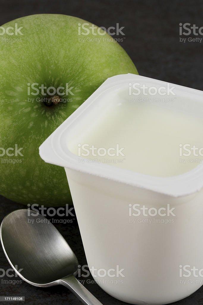 Yogurt and apple royalty-free stock photo