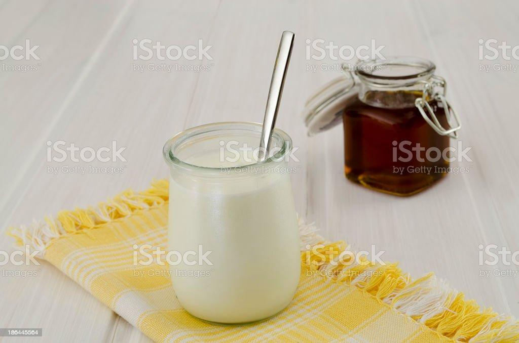 yogurt and honey stock photo