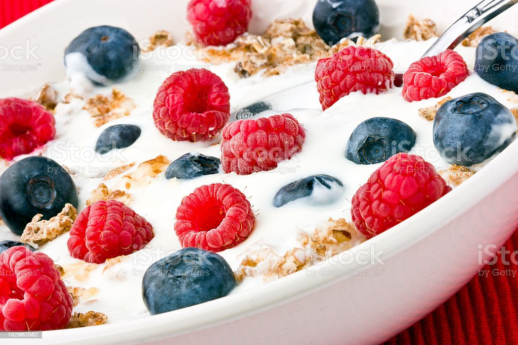 Yogurt muesli and fruit breakfast royalty-free stock photo