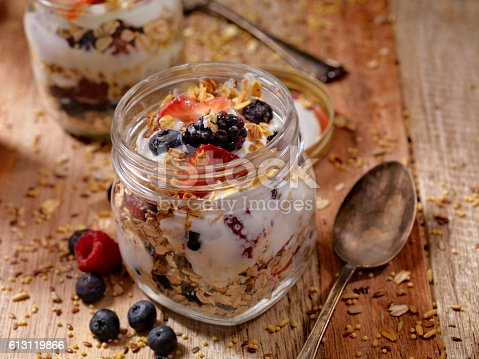 Yogurt Parfait with Blackberries, Blueberries, Strawberries and Granola-Photographed on Hasselblad H1-22mb Camera