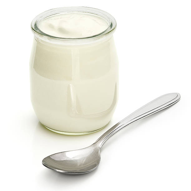 yogurt - spoon stock photos and pictures